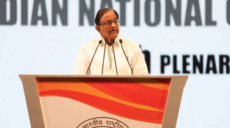 Congress Plenary Session Former finance minister P Chidambaram addresses the gathering in New Delhi on Sunday