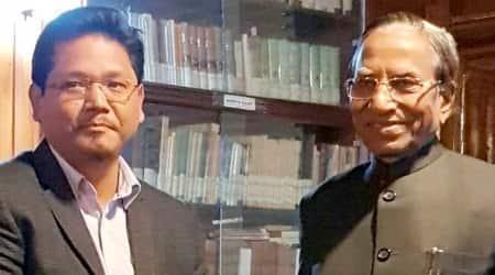 Conrad Sangma with Meghalaya governor Ganga Prasad