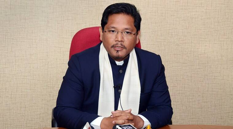 Conrad K Sangma addresses a press conference