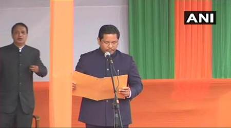 meghalaya, conrad sangma, npp, northeast, swearing in ceremony, oath taking, new meghalaya cm, bjp, indian express