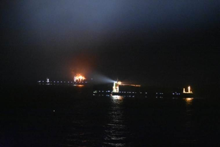 Container ship with 13 Indians catches fire, 4 missing