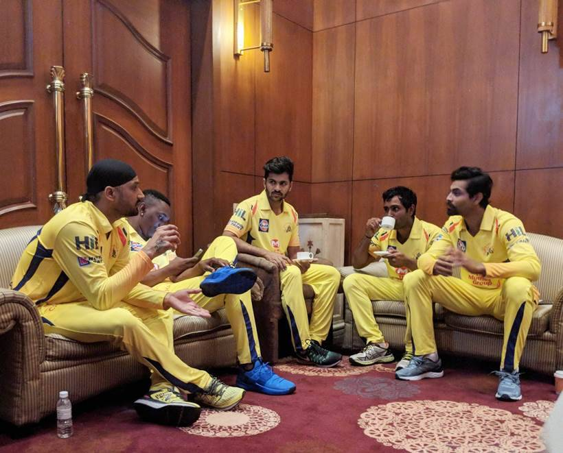 Chennai Super Kings younglings getting lessons from Harbhajan Singh.