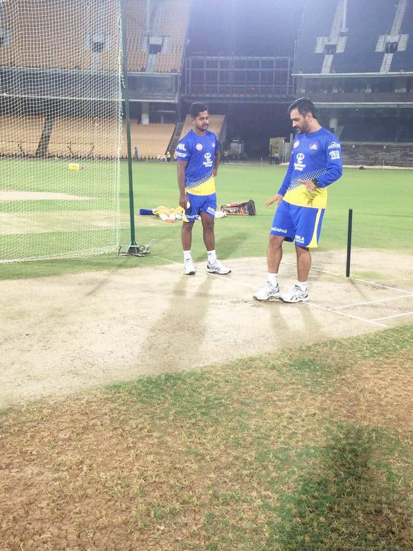 Mahendra Singh Dhoni at a CSK training session.