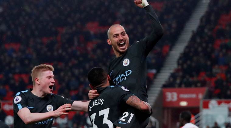 David Silva service at Stoke City sends Manchester City closer to Premier League title