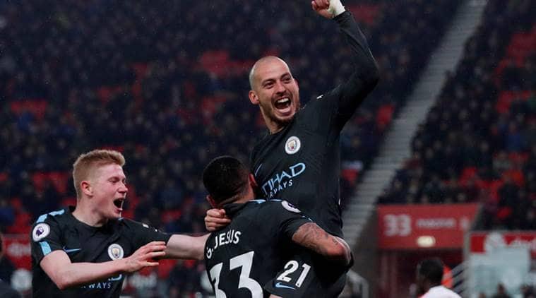 David Silva service at Stoke City sends Manchester City closer to Premier League title