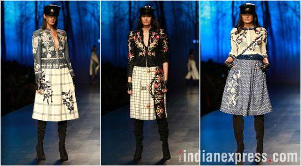 Amazon Fashion Week 2018, AIFW 2018, Bipasha Basu, Kartik Aaryan, Rahul Singh, Pallavi Mohan, Rohit Kamra, Kommal and Ratul Sood, Vineet Bahl, Saaj by Ankita, Pawan Sachdeva, Pearl Academy, Amazon Fashion Week Karishma Sondhi, Karishma Sondhi latest designs, Karishma Sondhi Autumn winter collection, indian express, indian express news