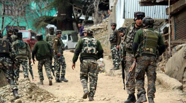 Five security personnel were killed and four others were injured in the encounter which broke out in Halmatpora area, at least 8 kms from the LoC, on Tuesday. (Express photo by Shuaib Masoodi)