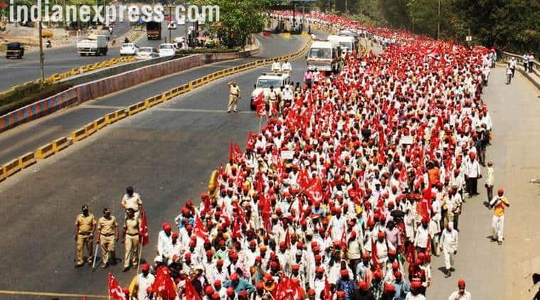 farmers protest, farmers long march mumbai, maharashtra, congress, state sponsored, indian express