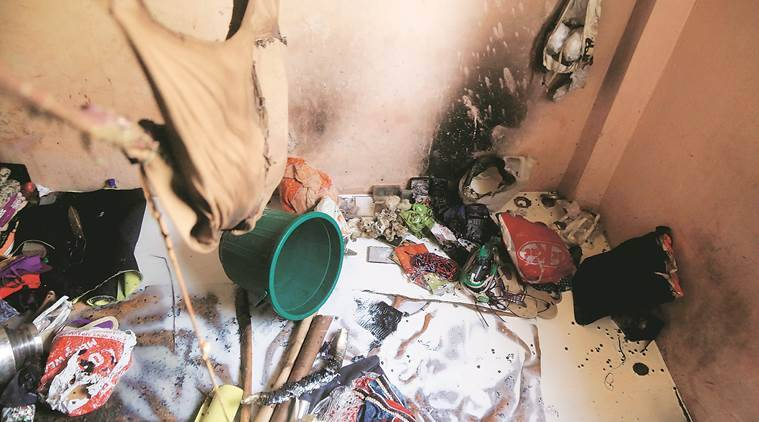 The cause of fire that broke out at a slum in Chembur on Sunday is yet to be ascertained, said a Fire Brigade official. (Janak Rathod)