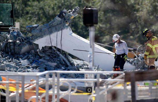 florida bridge collapse photos, miami images, florida pictures, pedestrian bridge collapse pics, florida international university, florida foot over bridge images, pedestrian bridge pictures, indian express