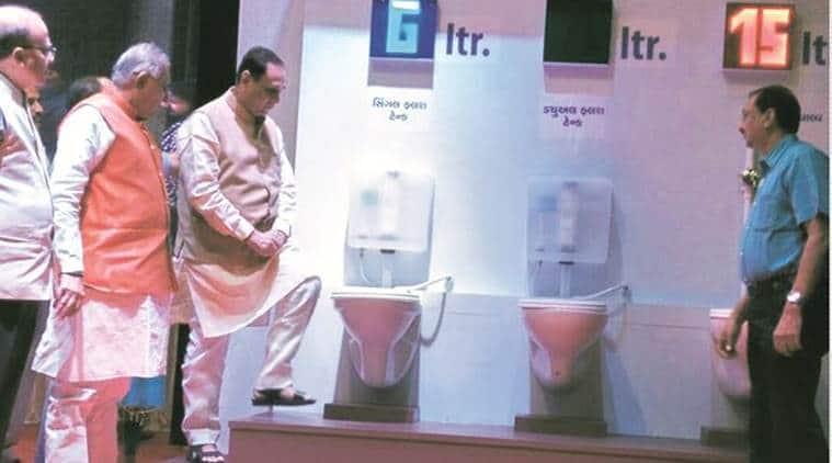Chief Minister Vijay Rupani, gujarat chief minister rupani, rupani launches dual flush system, dual flush system, gujarat water scarcity, gujarat water crisis, gujarat water, World Water Day