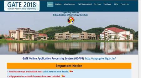 GATE 2018: Download final answer keys at appsgate.iitg.ac.in, results on March 17