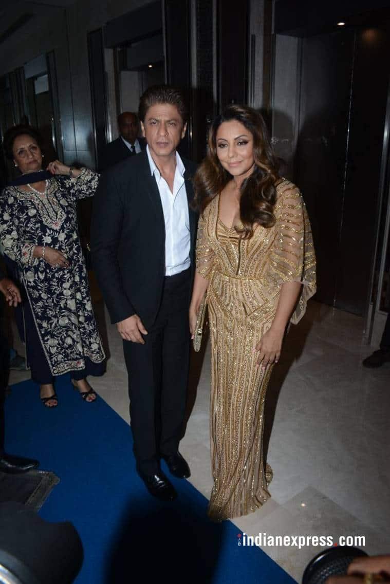 Gauri Khan Monisha Jaising, Shweta Bachchan Abu Jani Sandeep Khosla golden gown, indian express, indian express news
