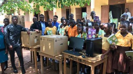 After Ghana teacher's MS word drawing on blackboard went viral, Indian firm gifts real computers to school