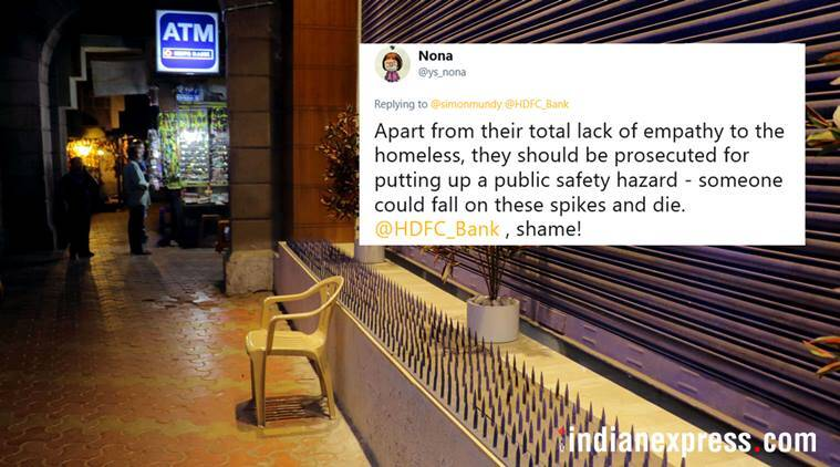 anti homeless spikes, hostile architecture, spikes on road, iron spikes against homeless, anti homeless spikes in mumbai, hdfc bank, hdfc banck fort branch, mumbai bank anti homeless spikes, india news, mumbai news, indian express