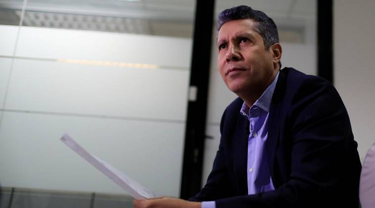 Venezuelan presidential candidate Henri Falcon speaks during an interview with Reuters in Caracas Venezuela
