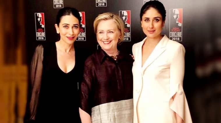 Hillary Clinton India, Hillary Clinton Indian fashion, Karisma Kapoor, Karisma Kapoor fashion, Karisma Kapoor Hillary Clinton, Kareena Kapoor Khan, Kareena Kapoor Khan fashion, Kareena Kapoor Khan Hillary Clinton, indian express, indian express news