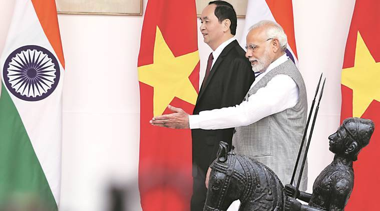 Prime Minister Narendra Modi with Vietnam President Tran Dai Quang at Hyderabad House in New Delhi. Image: Amit Mehra/The Indian Express