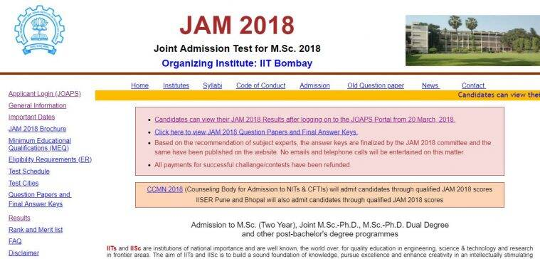 JAM result, IIT JAM result, IIT JAM 2018 result,jam.iitb.ac.in