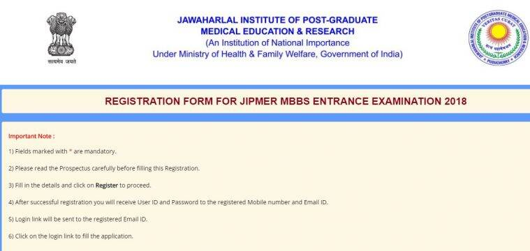JIPMER MBBS 2018 online registration begins at jipmer