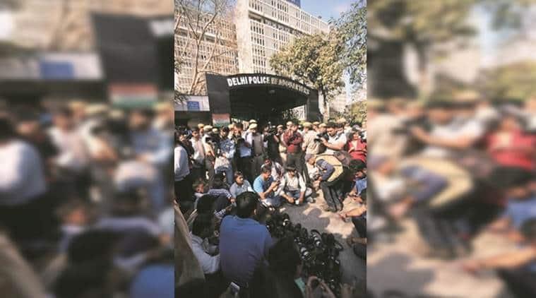 Outside the police headquarters, Saturday. (Express photo/Tashi Tobgyal)