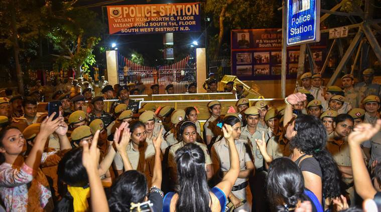 Sexual harassment case: JNU students protest against police 'inaction'