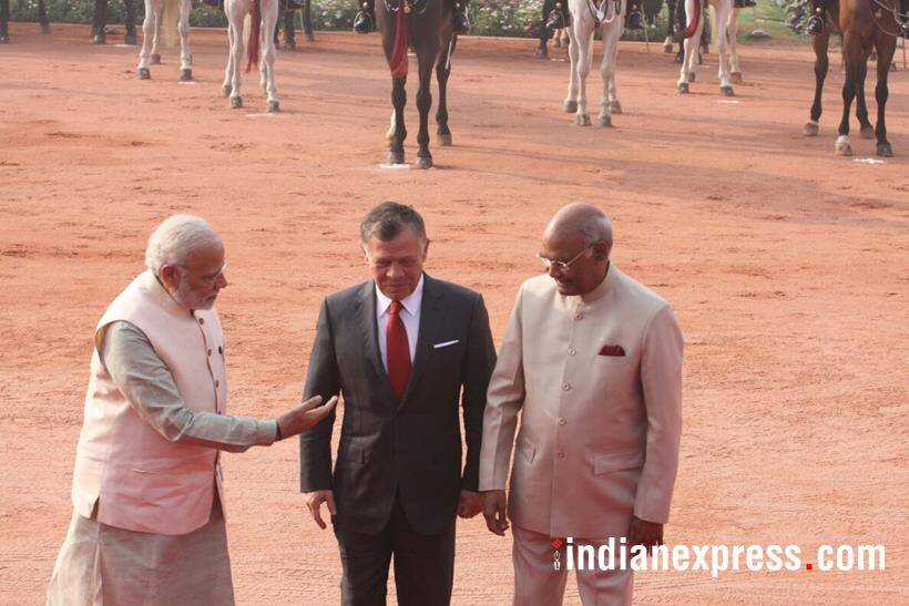 king abdullah photos, jordan king images, abdullah 2 india visit pics, king abdullah modi meet images, jordan kind prez kovind images, rashtrapati bhavan, ceremonial welcome, guard of honour, indian express