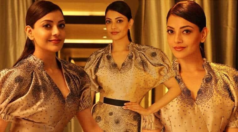 Kajal Aggarwal, Kajal Aggarwal latest photos, Kajal Aggarwal fashion, Kajal Aggarwal Bibhu Mohapatra, Kajal Aggarwal gold outfit, indian express, indian express news