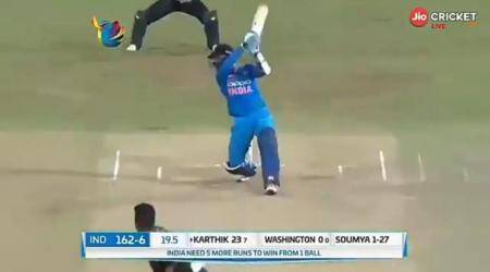 Dinesh Karthik slams a last ball six to help India beat Bangladesh by four wickets, watch video