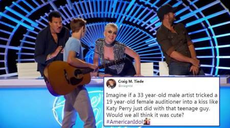 katy perry, american idol, katy perry kisses contestant, katy perry kiss, katy perry kiss contestant on american idol, twitter reaction, indian express, indian express news