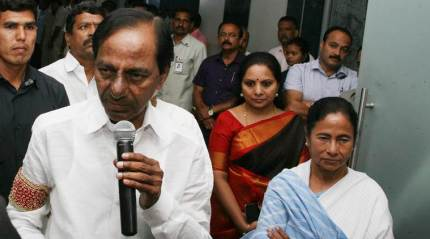 KCR and Mamata Banerjee hold talks in Kolkata, call for a 'federal front' to bring about political change