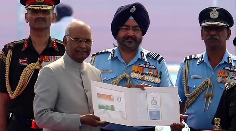 President Ram Nath Kovind at the presentation of President's Standard to the 51 Squadron and President's Colours to the 230 Signal Unit of the Indian Air Force(IAF) at Halwara, about 30 kms from Ludhiana, on Thursday. (Express photo/Gurmeet Singh)