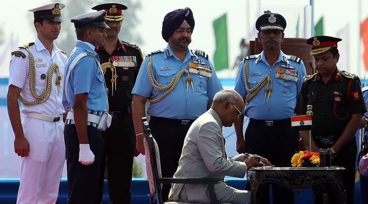 The President said that the 51 Squadron and the 230 Signal Unit have distinguished themselves in service to the nation. (Express photo/Gurmeet Singh)