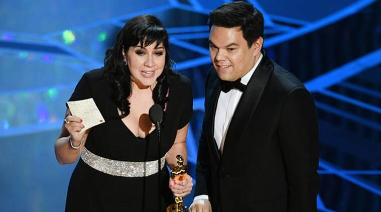 Kristen Anderson-Lopez and Robert Lopez at oscars 2018