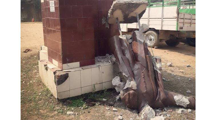 lenin statue vandalised in tripura