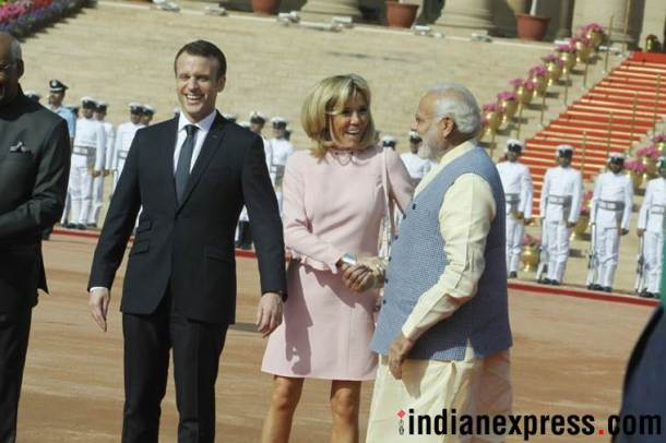 Macron in India, French President, Macron ceremonial reception, Macron Modi, Narendra Modi, India France ties, Indian Express