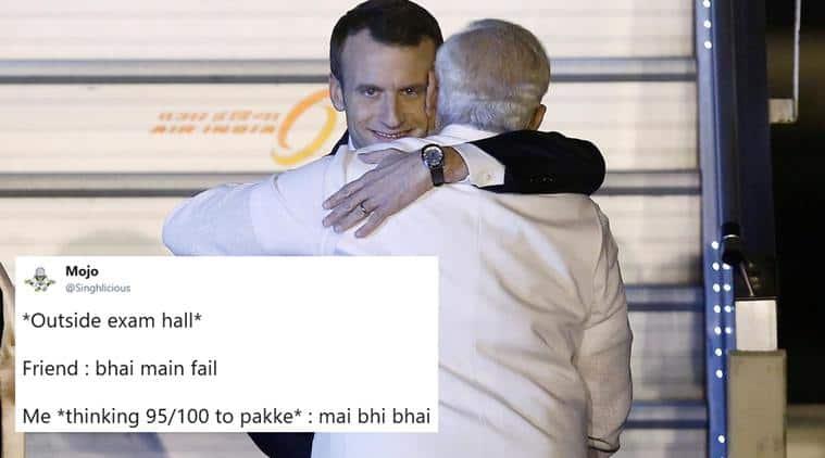Emmanuel Macron, narendra modi, Emmanuel Macron grin, Emmanuel Macron evil smile, macron modi hug, macron smile memes, macron smile photoshop battle, macron modi hug jokes, macron modi hug memes, viral news, india news, indian express