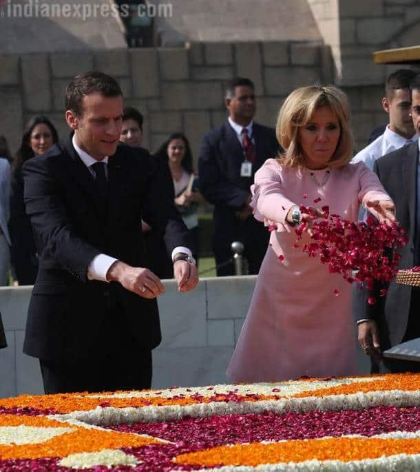 Macron in India, French President, Macron in India photos, French President images, Macron ceremonial reception, Macron Modi photos, Narendra Modi, India France ties, Indian Express