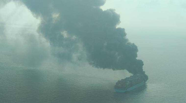 Ship catches fire, Maersk Honam, Container vessel fire, Lakshadweep ship fire, Maersk Honam, Maersk Line fire, Ship with Indians fire, Indian Express