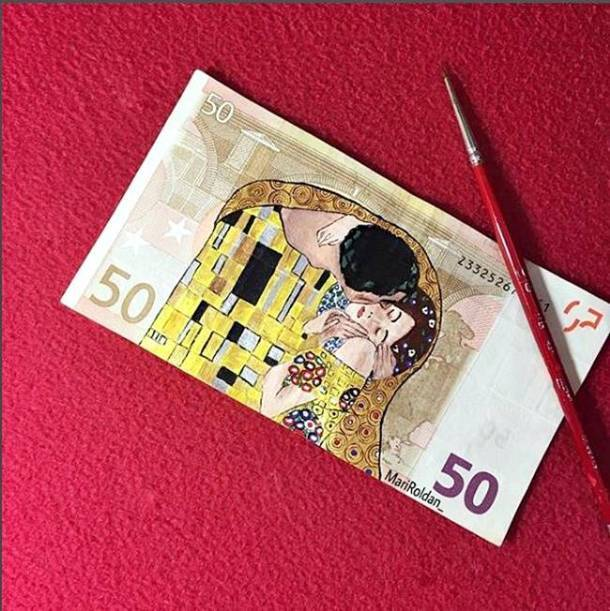 Mari Roldan, Mari Roldan instagram, Mari Roldan artist, Artist Mari Roldan recreates famous paintings using money, paintings on currency notes