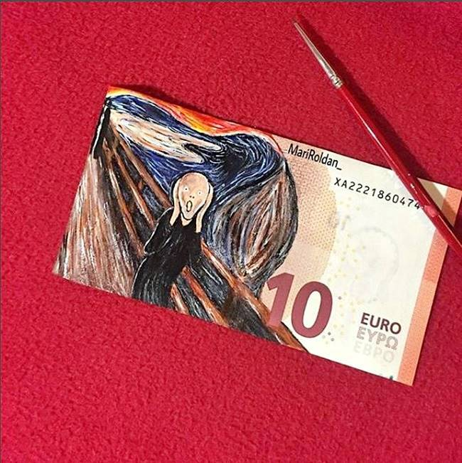 Mari Roldan, Mari Roldan instagram, Mari Roldan artist, Artist Mari Roldan recreates famous paintings using money, paintings on currency notes