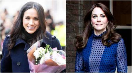 Kate Middleton and Meghan Markle colour coordinate in blue during first officialappearance