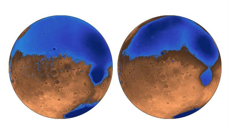 Mars oceans, global warming, University of California Berkeley, volcanic activity, liquid water, Mars volcanoes, polar ice caps, Earth's oceans, shorelines, solar system