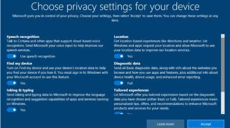 Microsoft's new privacy settings interface rolled out for Windows Insiders build