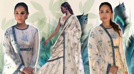 floral printed white, summer ethnic dresses, Mira Rajput, Mira Rajput fashion, Mira Rajput white anarkali, Janhvi Kapoor, Janhvi Kapoor fashion, Janhvi Kapoor latest photso, Neha Dhupia, Neha Dhupia floral printed sari, Mini Mathur fashion, indian express, indian express news