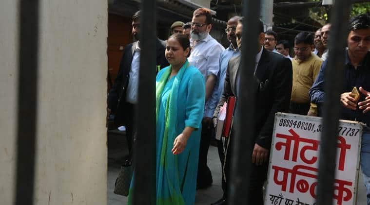 RJD leader Lalu Prasad Yadav's daughter Misa Bharti outside the court on Monday. (Express photo/Prem Nath Pandey)