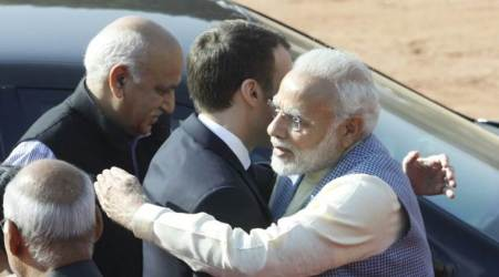 French President Emmanuel Macron receives ceremonial reception at Rashtrapati Bhavan