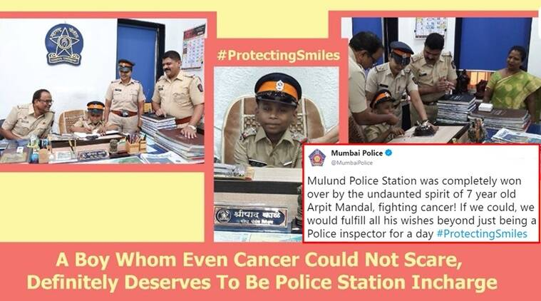 Mumbai police twitter, Mumbai Police tweets, Mumbai Police great work, Mumbai Police latest tweets, Mumbai Police twitter handle, Mumbai police 7 year old Arpit Mandal fighting cancer story, Indian Express, Indian Express news