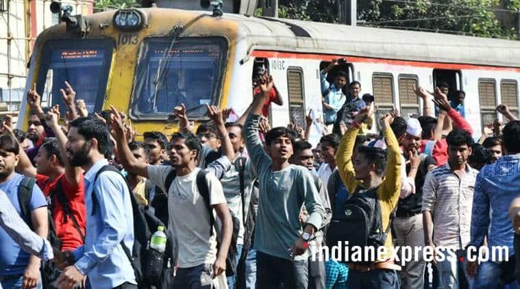 govt railway police, grp, rail roko protest, mumbai trains, indian express