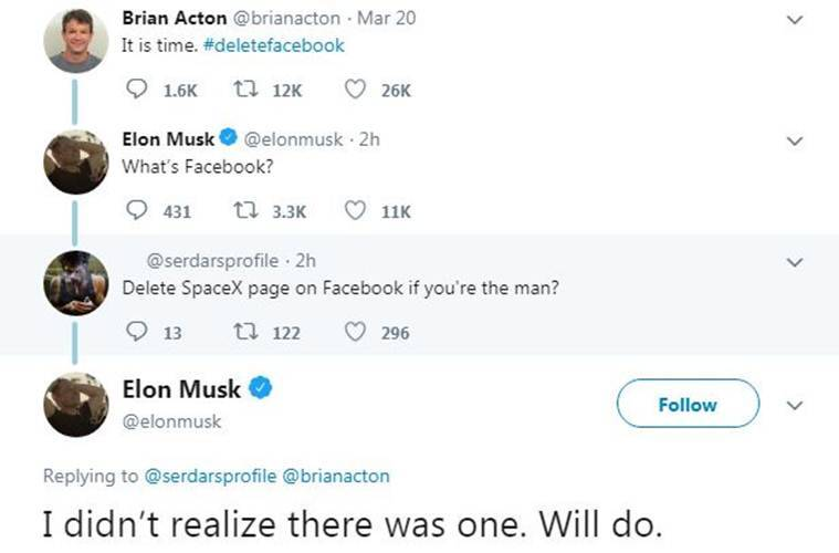 Elon Musk, SpaceX facebook page, SpaceX facebook page down, DeleteFacebook, Facebook controversy, Cambridge Analytica controversy,
